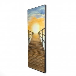 Framed 16 x 48 - 3D - Sunset in the sea