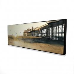 Framed 16 x 48 - 3D - Sunset at the beach