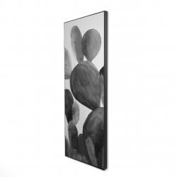 Framed 16 x 48 - 3D - Grayscale paddle cactus plant