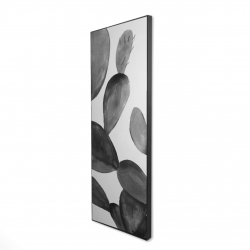 Framed 16 x 48 - 3D - Grayscale cactus
