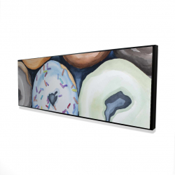 Framed 16 x 48 - 3D - Watercolor doughtnuts with icing