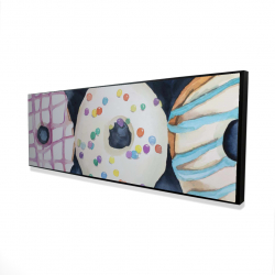 Framed 16 x 48 - 3D - Watercolor delicious looking doughtnuts