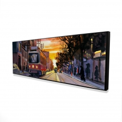 Framed 16 x 48 - 3D - Sunset streetscape to toronto