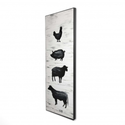 Framed 16 x 48 - 3D - Farm animals