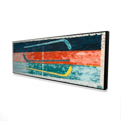 Framed 16 x 48 - 3D - Abstract hockey sticks
