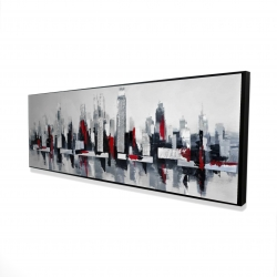 Framed 16 x 48 - 3D - Gray and red floating cityscape