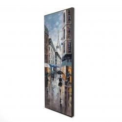 Framed 16 x 48 - 3D - Paris street blue