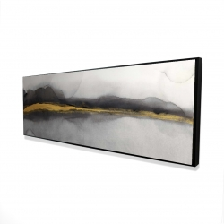 Framed 16 x 48 - 3D - Gold stripe abstract