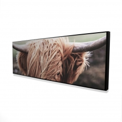 Framed 16 x 48 - 3D - Desaturated highland cow