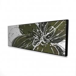 Framed 16 x 48 - 3D - Green flower with splash outline