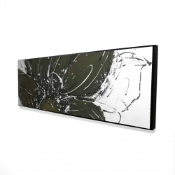 Framed 16 x 48 - 3D - Abstract flower with paint splash