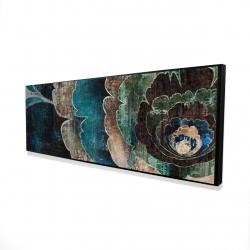 Framed 16 x 48 - 3D - Blue flower montage