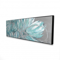 Framed 16 x 48 - 3D - Three little abstract blue flowers