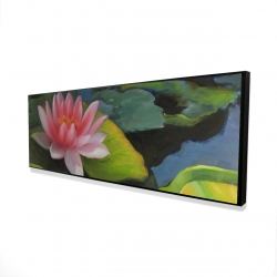 Framed 16 x 48 - 3D - Water lilies and lotus flowers