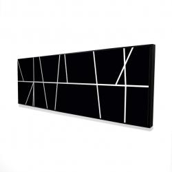 Framed 16 x 48 - 3D - White stripes on black background