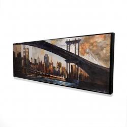 Framed 16 x 48 - 3D - Bridge in the city at sunset