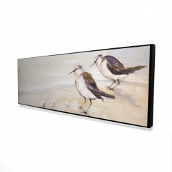 Framed 16 x 48 - 3D - Two sandpipers on the beach