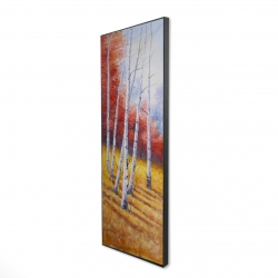 Framed 16 x 48 - 3D - Fall landscape with birches