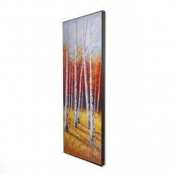 Framed 16 x 48 - 3D - Fall forest landscape