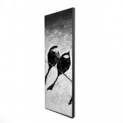 Framed 16 x 48 - 3D - Five birds perched