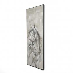 Framed 16 x 48 - 3D - Worthy white horse