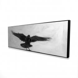 Framed 16 x 48 - 3D - Crow in flight