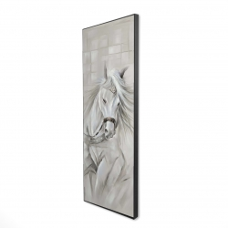 Framed 16 x 48 - 3D - White horse with his mane in the wind
