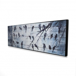 Framed 16 x 48 - 3D - Abstract birds on electric wire