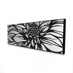 Framed 16 x 48 - 3D - Dahlia flower outline style