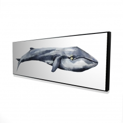 Framed 16 x 48 - 3D - Watercolor whale