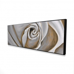 Framed 20 x 60 - 3D - White rose closeup