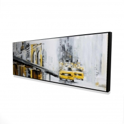 Framed 16 x 48 - 3D - Yellow brooklyn bridge with taxis