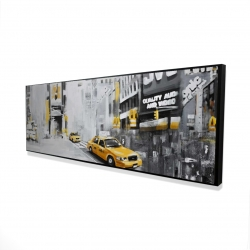 Framed 16 x 48 - 3D - New york city with taxis