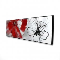 Framed 16 x 48 - 3D - Red & gray flowers