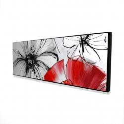 Framed 16 x 48 - 3D - Red & white flowers sketch