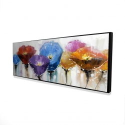 Framed 16 x 48 - 3D - Colorful flowers