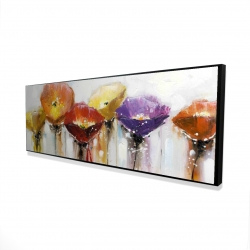 Framed 16 x 48 - 3D - Multiple colorful abstract flowers
