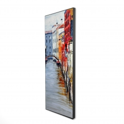 Framed 16 x 48 - 3D - Colorful and texturized city on the water