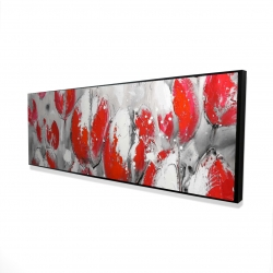 Framed 16 x 48 - 3D - Abstract red tulips