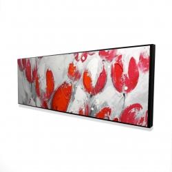 Framed 16 x 48 - 3D - Red tulips