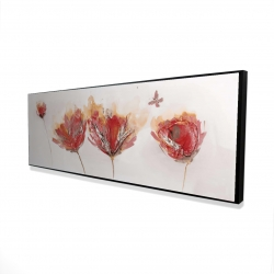 Framed 16 x 48 - 3D - Crimson flowers and butterfly