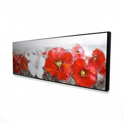 Framed 16 x 48 - 3D - Gray field with red flowers