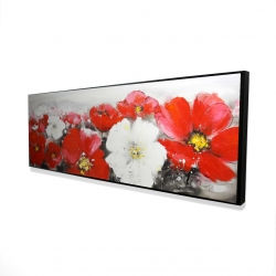 Framed 16 x 48 - 3D - Red and white flowers field
