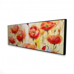 Framed 16 x 48 - 3D - Red flowers garden