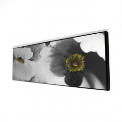 Framed 16 x 48 - 3D - Black and white flowers