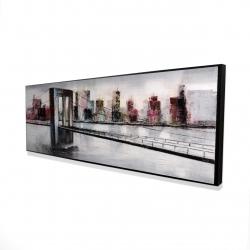 Framed 16 x 48 - 3D - Abstract bridge cityscape