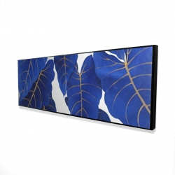 Framed 16 x 48 - 3D - Tropical abstract blue leaves