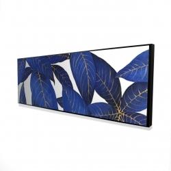 Framed 16 x 48 - 3D - Abstract modern blue leaves