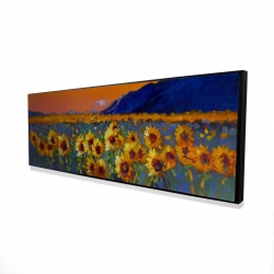 Framed 16 x 48 - 3D - Field of sunflowers