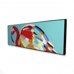 Framed 16 x 48 - 3D - Abstract flamingo